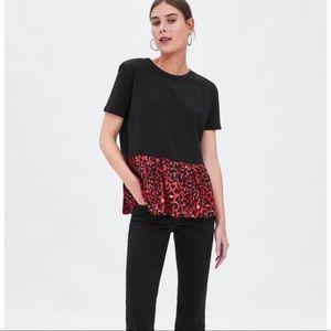 ZARA cheetah trim blouse L